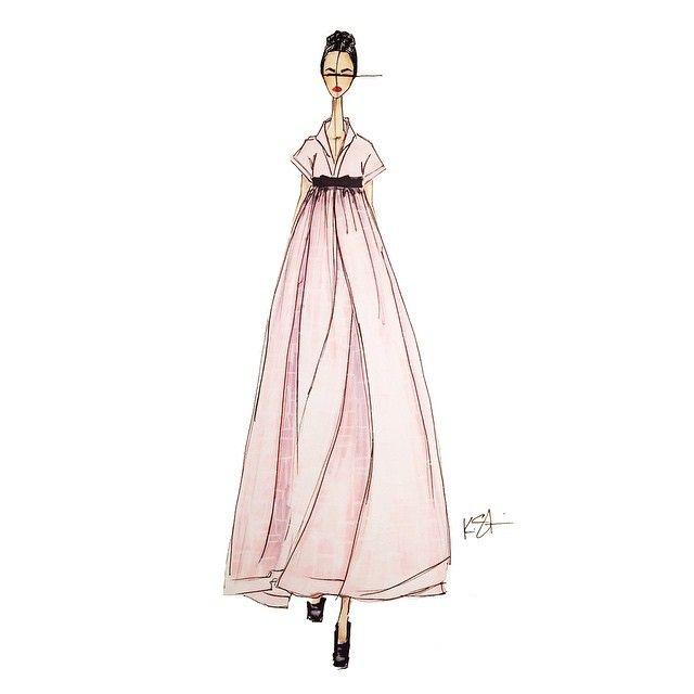 Chanel x Seoul @chanelofficial@karllagerfeld@jihyeparkjhp #ChanelCruiseSeoul#Chanel#hanbok#한복#karllagerfeld#fashion#fashionillustration#sketch