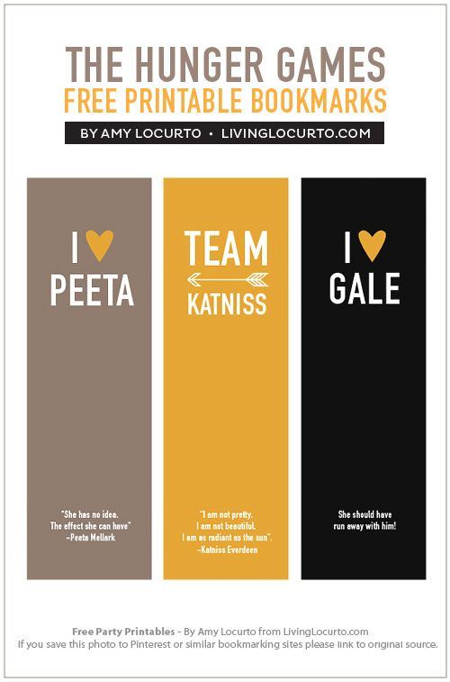 The Hunger Games Free Bookmarks. By LivingLocurto.com