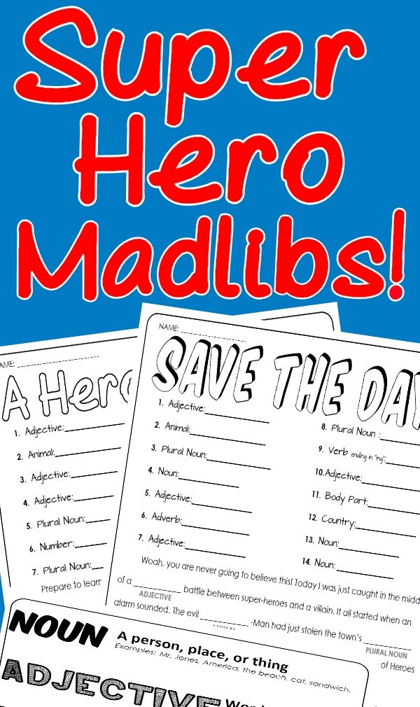 """Wham, Bam, Holy _________ (Plural Nouns) Batman! Unleash your students' inner parts of speech powers. Have a blast practicing using nouns, verbs, adverbs, and adjectives with your kids! - """"A Heroic Start!"""" Mad Lib including 14 opportunities for student practice. - """"Saves the Day!"""" Mad Lib including 14 opportunities for student practice. Also included is a handy dandy parts of speech cheat sheet. This handy guide will help remind students just what a noun, verb, adjective, or adverb is."""