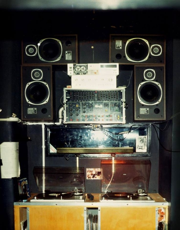 DJ Booth at the Hacienda nightclub in Manchester, 1983.