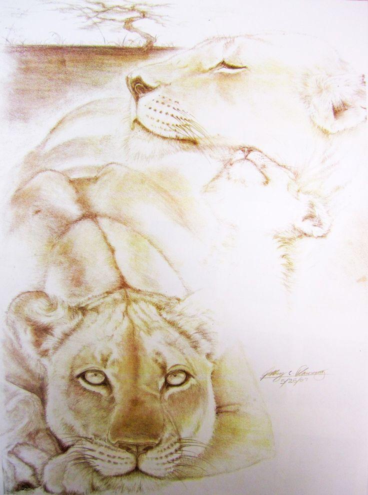 """lioness & cub""   artisticatrocities"