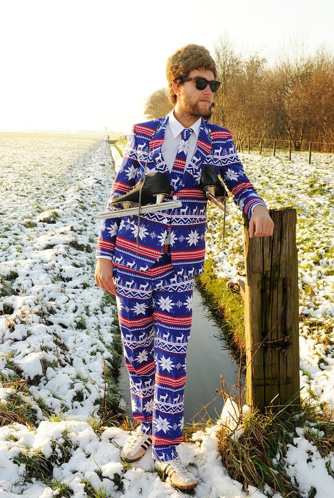 The Rudolph Suave Ugly Christmas Sweater Fair Isle Reindeer Suit by Opposuits - Shinesty
