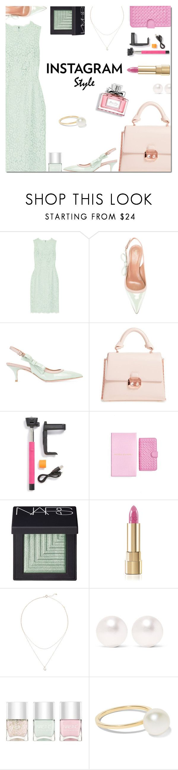 """""""60-Second Style: Insta-Ready"""" by danielle-487 ❤ liked on Polyvore featuring Dolce&Gabbana, RED Valentino, Ted Baker, MobileLuxe, NARS Cosmetics, mizuki, Larkspur & Hawk, Nails Inc., Christian Dior and Sophie Bille Brahe"""