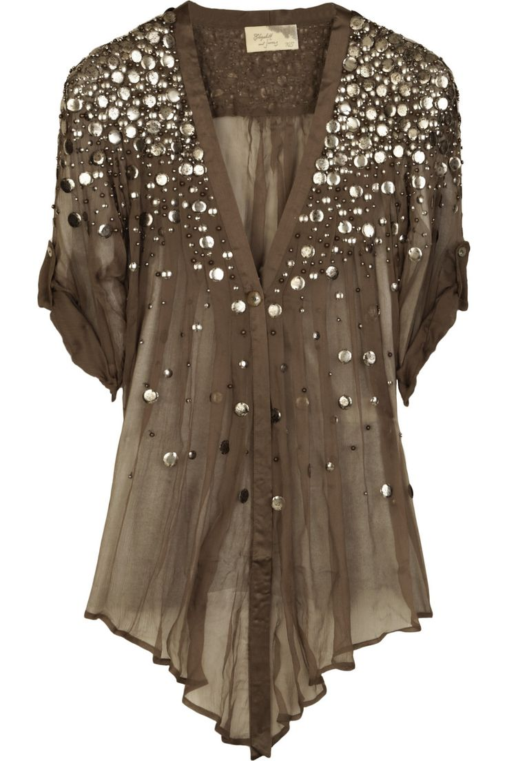 """Tokyo"" olive silk-chiffon sequined top by Elizabeth and James."