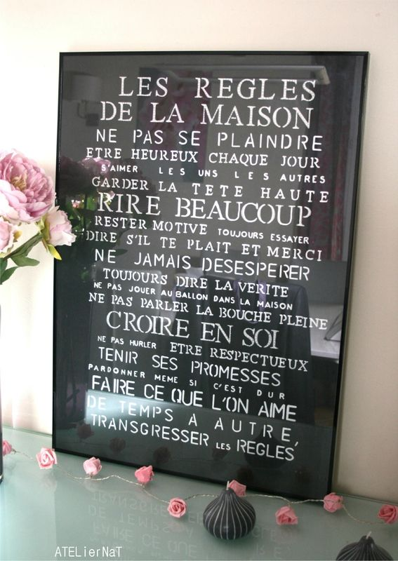 Les 25 meilleures id es de la cat gorie mur d 39 affiches sur pinterest affiches de chambre - Cadre les regles de la maison ...