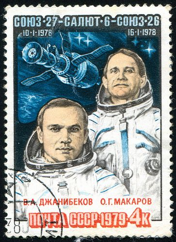 Russia - Djanibekov and Makarov, Spacecraft, circa 1979.