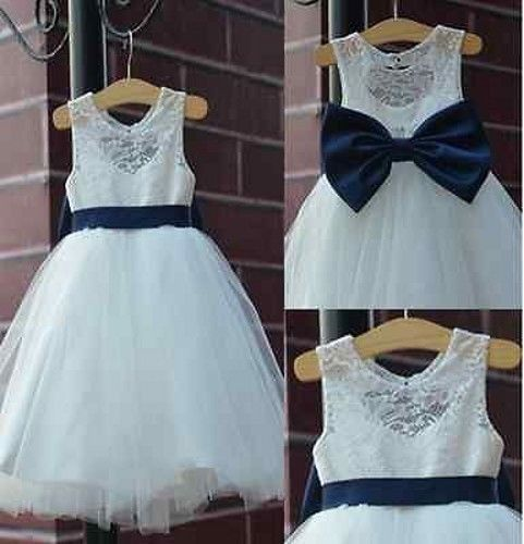 2015 rustic Ivory Lace Navy blue sash/bow Flower Girl Dress White Country Toddle…
