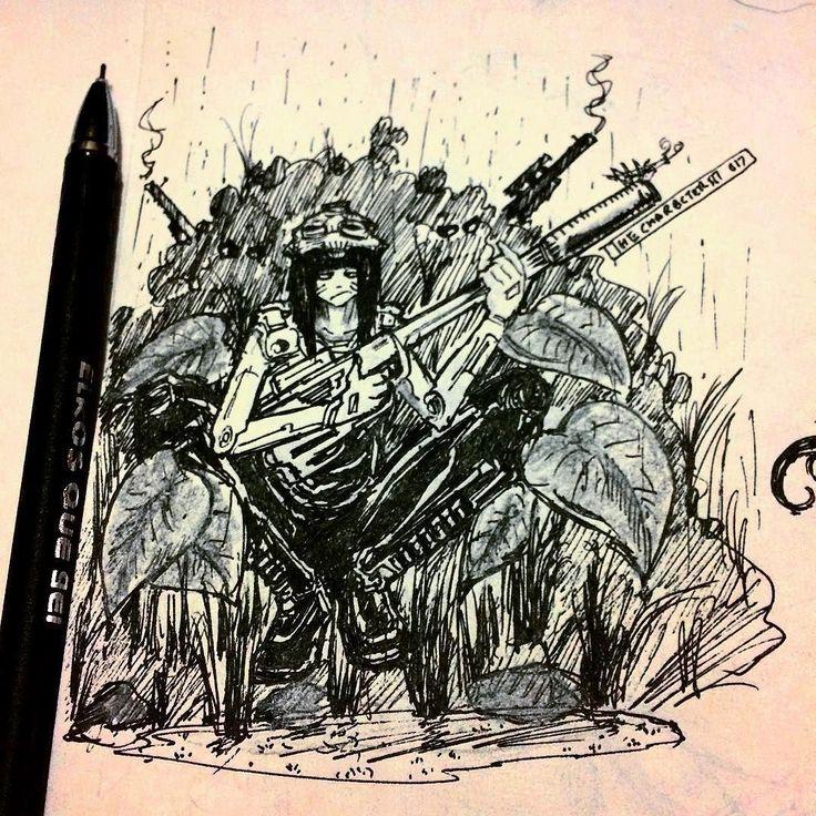War Is Fun... Duh . . . #sketch #sketching #sketches #drawing #art #artsy #artist #cyberpunk #artwork #doodle #doodles #characterist #hipster  #draw #concept #instaart #instagood #instadaily #illustration #bored #cool #guns #artwork #artoftheday #pen #monochrome #war #creative  #blackandwhite #ink