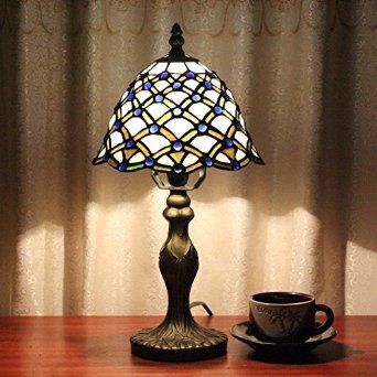 8 Inch Vintage Pastoral Stained Glass Tiffany Blue Bead Table Lamp Bedroom  Lamp Bedside Lamp