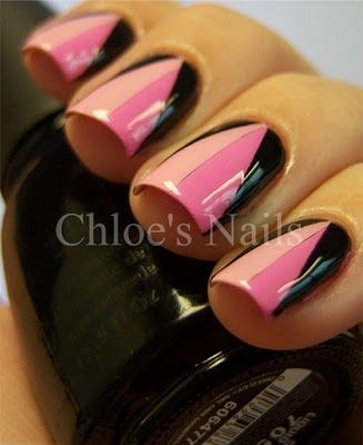Well, now that I have to repaint my nails every day to use the grow-y, hardening stuff...: Nails Pink, Black Triangles, Artsy Nails, Chloe Nails, Nails Design, China Glaze, Pink Nails Art Black And, Black Nails Art, Pink Black Nails