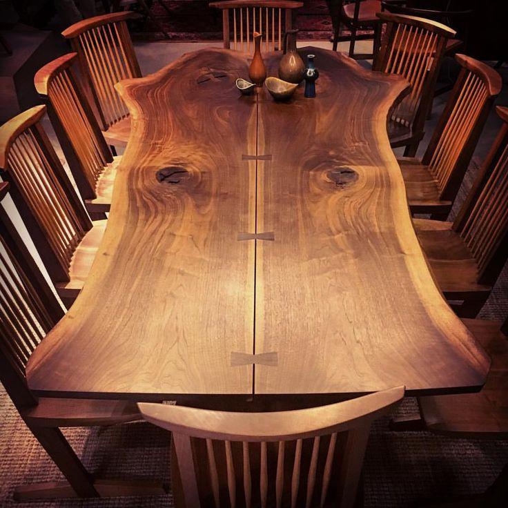 "Gefällt 101 Mal, 10 Kommentare - Andy Johnson (@andyjohnson) auf Instagram: ""Nakashima for 10. #nakashima #table #chairs #conoid #walnut #wood #woodwork #bookmatch #liveedge…"""