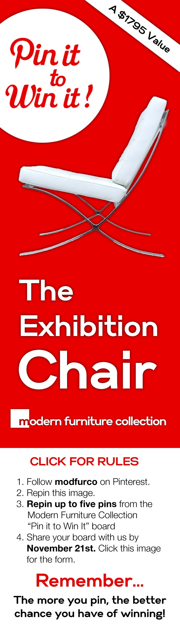 Modern Furniture Collection is giving away a classic Exhibition Chair! All you have to do is pin. #modernfurniture #barcelonachair #contest #pinittowinit #pintowin