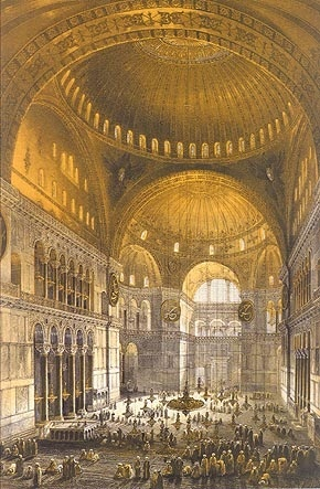 Historical lithograph of Hagia Sophia's interior, from 1852.