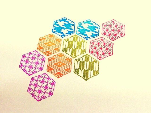 消しゴムはんこ「麻の葉」六角和柄シリーズ