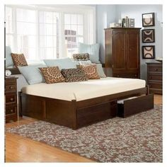 sideways queen bed = room saver and more comfortable than a daybed