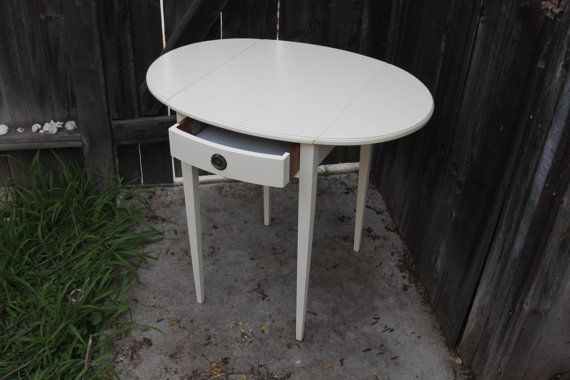 Cream Side Table with Drawer by othersisterdesign on Etsy, $125.00