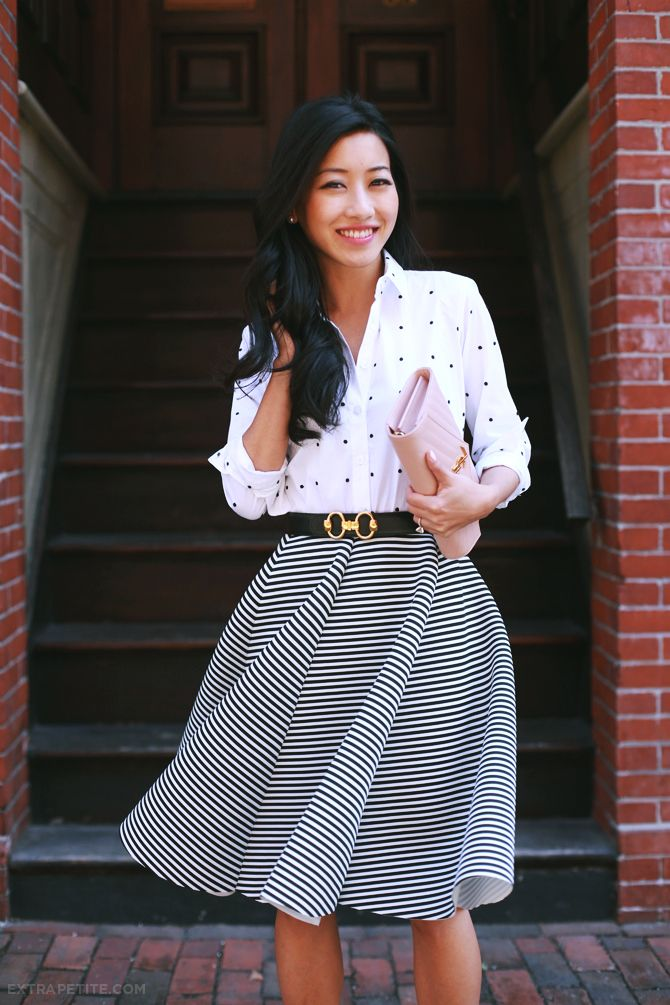 Pattern mixing outfit - polka dot top and striped skirt. Cute for casual work, a party or for hosting guests.