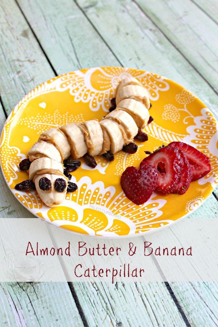 #Paleo kids recipe - Almond Butter and Banana Caterpillar from www.PaleoCupboard.com