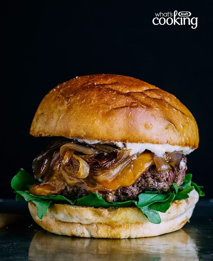 Cheddar and Grilled Onion Burgers #recipe