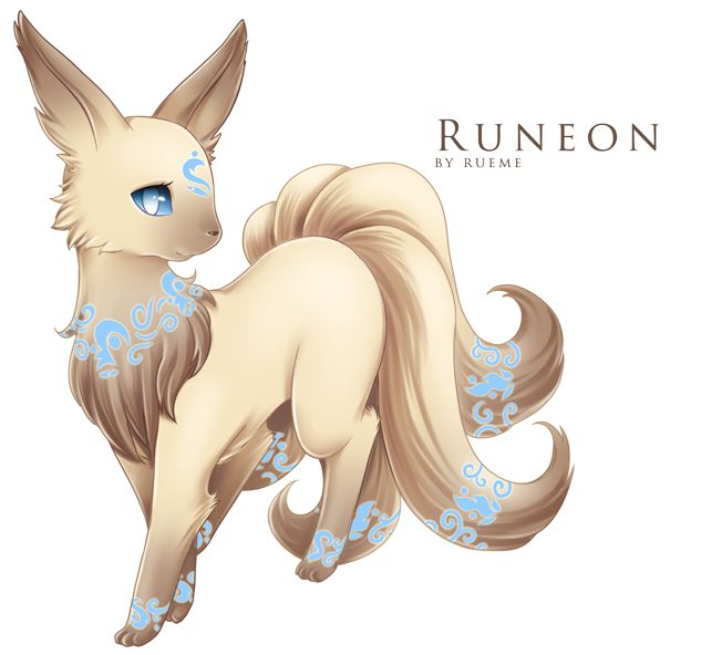 Eevee –> Runeon Light Evolves from Eevee when leveled up while holding a a specific rune, which then becomes the rune on Runeon's forehead. Source. Artist: Rueme
