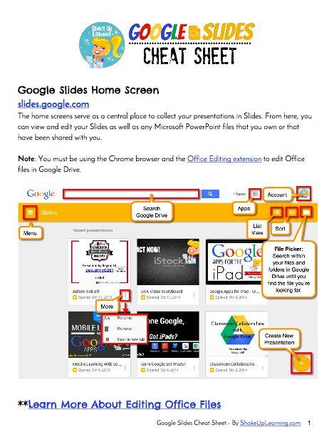 google slides cheat sheet free download google stuff