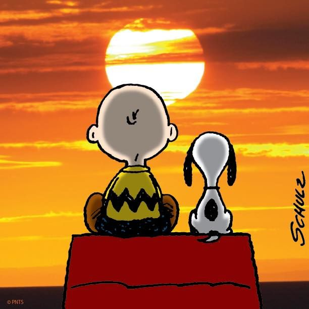 sunset with snoopy