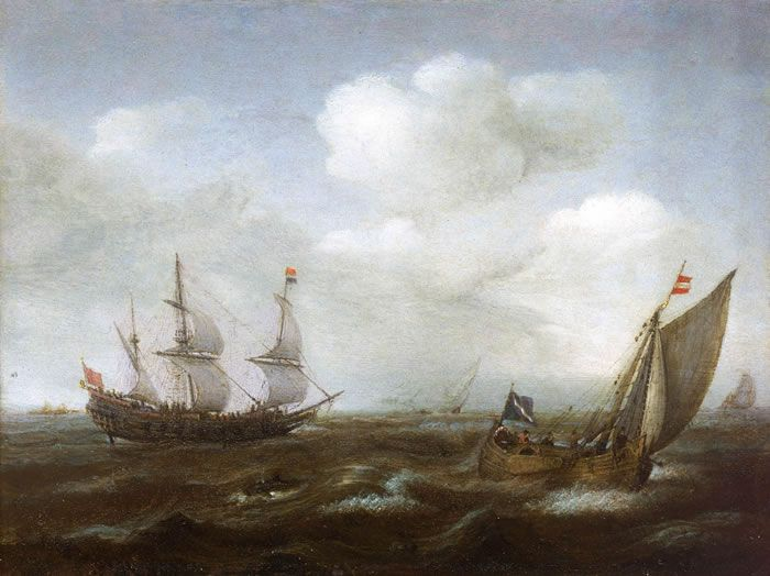 A Dutch Ship and Fishing Boat in a Fresh Breeze
