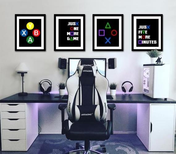 Gaming Wall Art Set Of 4 Gaming Prints Set Video Game Print Gaming Room Decor Printable Wall Art Video Game Party Video Game Poster Teenage Boy Room Boy Bedroom Design Boys