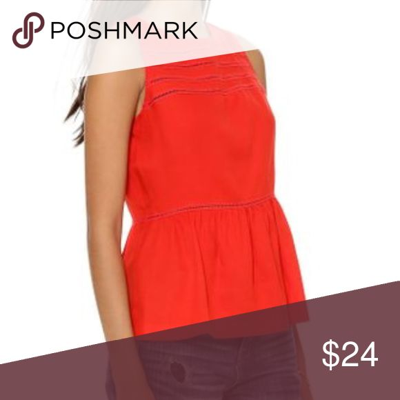 Madewell red Silk peplum top XS Beautiful red silk peplum top by madewell. Back Zipper, excellent Condition. Madewell Tops