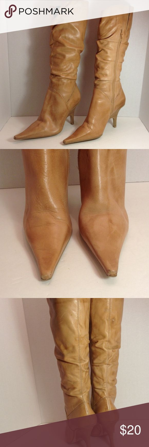 """Bakers distress leather boots Nice tan leather boots with zipper side, 3.5"""" heels, boots show light wear on toe area. 17"""" tall Bakers Shoes Heeled Boots"""