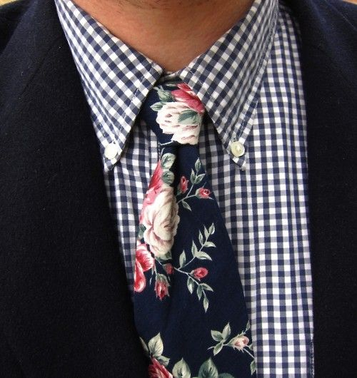 Navy gingham button-down shirt; vintage navy, pink, and green rose floral print cotton tie; navy wool sport coat.
