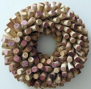 Unique Wine Cork Wreath by LizzieJoeDesigns on Etsy contemporary-wreaths-and-garlands