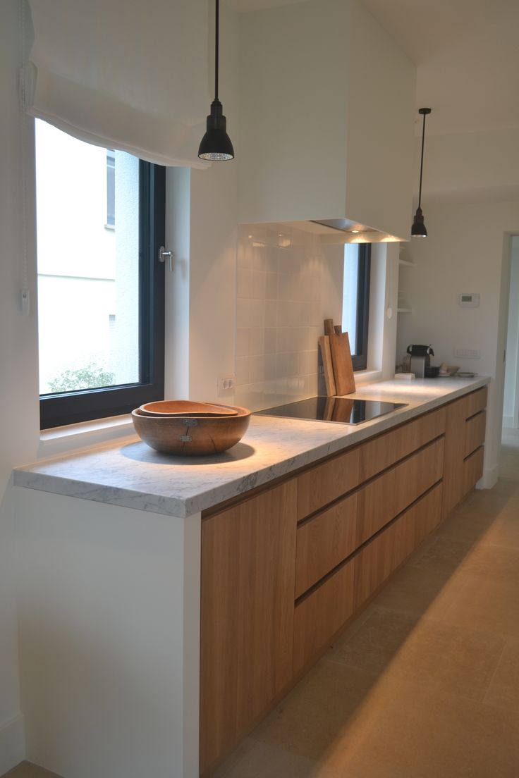 Kitchen by In Tempo oak - Carrara marble - Nautic Lighting - Hollandse witjes