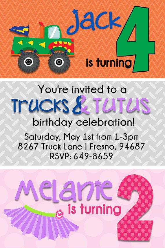 Trucks and Tutus Birthday Invitation by beenesprout on Etsy, $13.00