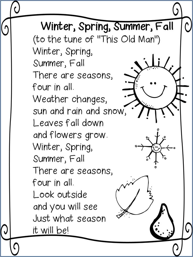 Seasons song … | Cute Ideas for school | Pinte…