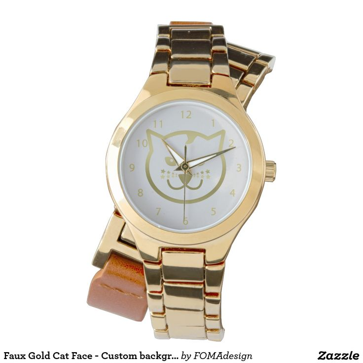 Faux Gold Cat Face - Custom background color Women's Wraparound Gold Watch. Wrap your wrist with a stylish watch that combines metal and leather for a fashion forward look! #fomadesign