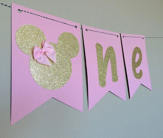 Pink and Gold Pink and Silver Minnie Mouse High by BellesBanners