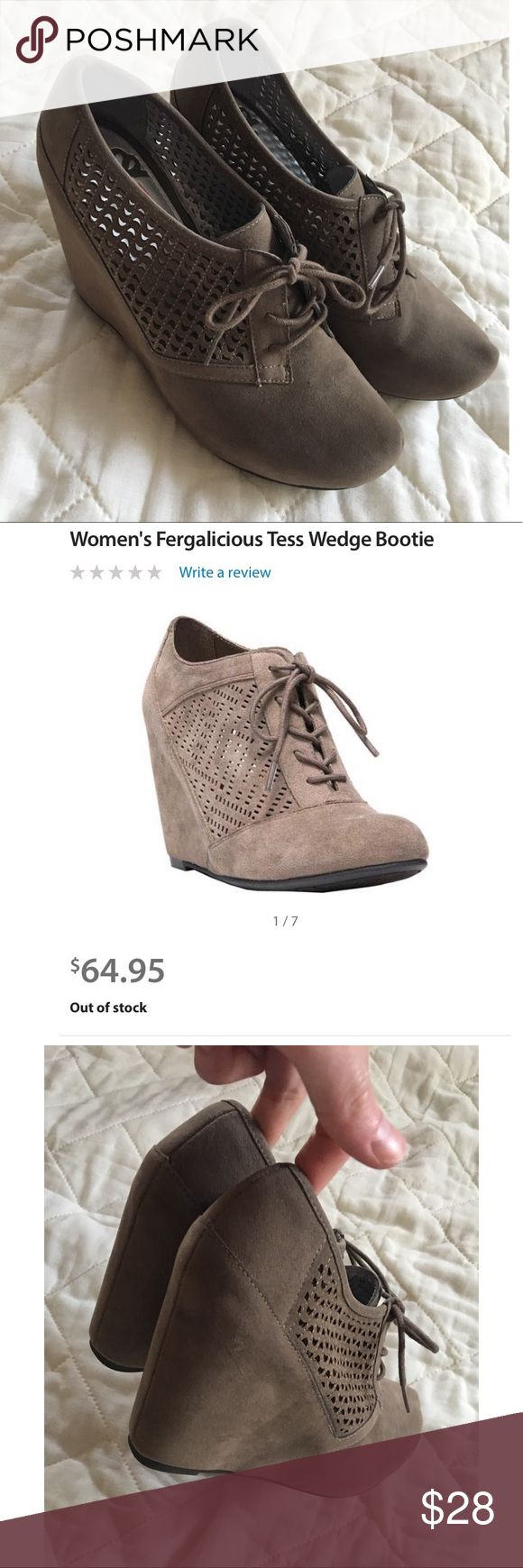 Taupe Wedge Booties Fergie Perforated Wedge Booties. EUC. There is a small mark on the inside R shoe. Not visible when wearing. 7.5 but would also fit an 8. Taupe (Beige/Greyish). Heel height: 3.5in. Make me offer!! Reasonable Offers will be accepted!  Fergalicious Shoes Ankle Boots & Booties