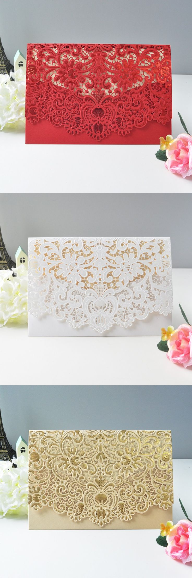 laser cut wedding invites canada%0A  sample Elegant flower design laser cut Wedding Invitation card white red  gold wedding invitations Free Printing