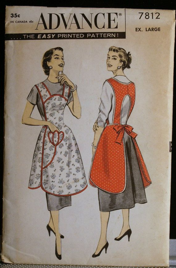 vintage advance over the head bib apron sewing pattern with tulip applique size ex large uncut