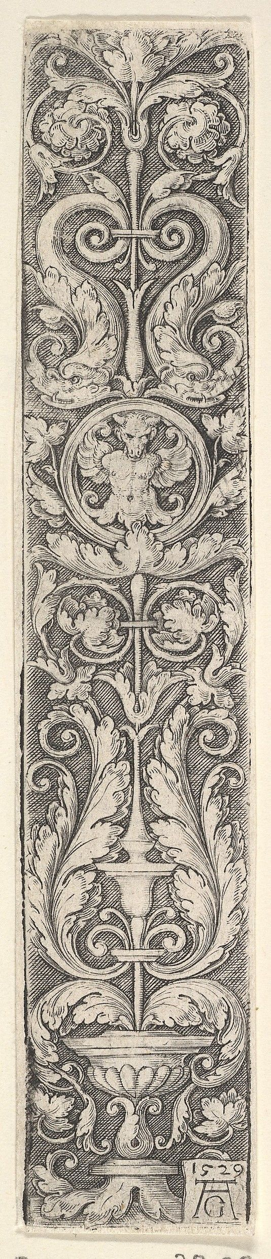 Vertical Panel with a Candelabrum Containing a Medallion with a Centaur and a Pair of Dolphins (1529)