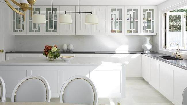 The Block's Neale Whitaker explains the different shades of white in your home, including a white-on-white kitchen by Greg Natale Design. #home #DIY #decorate #VogueLiving