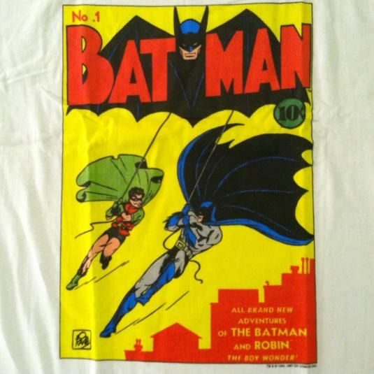 1980's BATMAN shirt size Large super-hero movie comic book vintage 1989 DC Comics Rare Q96sI