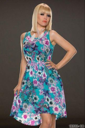 Ασύμμετρο φλοράλ μίνι φόρεμα - Τυρκουάζ