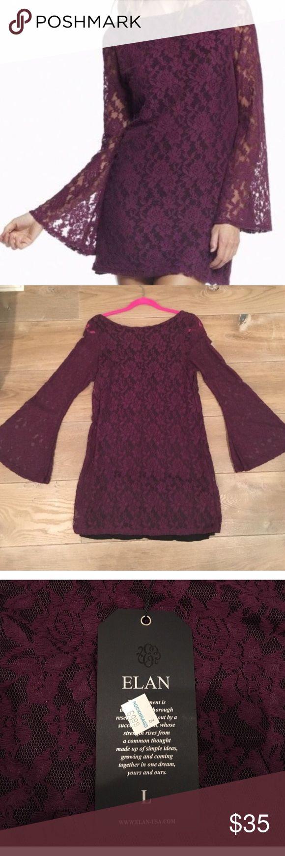 Purple Lace Dress Long sleeve purple dress. Black slip. Arms flare at bottom. Nwt. Elan Dresses Long Sleeve