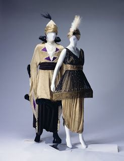 costumes from Paul Poiret . tulle , lamp shape at shirt ,silk at hems dress , ribbon at waise , turban with fur trims