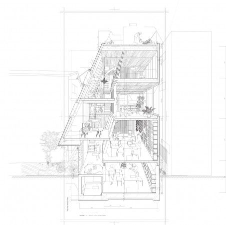 House & Atelier // Atelier Bow-Wow section & perspective