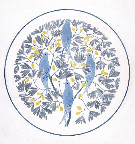 Birds perched in stylised olive branches, by C.F.A. Voysey. England, early 20th century