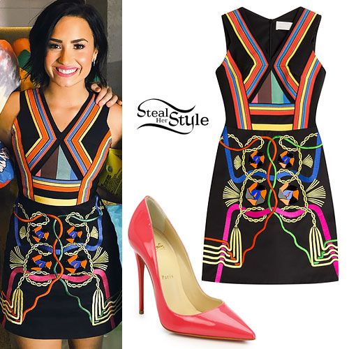Demi Lovato appeared on Shazam Top 20 in Australia today wearing the Peter Pilotto Embellished Black Denim Hendrix Mini Dress ($723.00) and Christian Louboutin So Kate Patent Leather Pumps ($675.00) in Bon Bon-Pink. Get the look for less with hot pink pumps from Charlotte Russe ($20.49) or Guess ($33.99).
