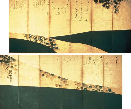Tawaraya Sotatsu. Narrow Ivy Road (Tsuta no Hosomichi zu byôbu, 蔦の細道図屏風) Edo Period, 17th century TYPE: Edo Period, 17th century Pair of six-panel folding screens; color on gold-foiled paper DIMENSIONS: 159.0 x 361.0 cm each Collection of Jotenkaku Museum (Kyoto, Shokoku-ji Temple) Important Cultural Property of Japan #japan_painting #Rimpa_school #Tawaraya_Sotatsu